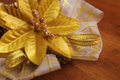 Golden christmas ornament macro closeup of flower decoration Royalty Free Stock Image