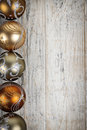 Golden Christmas ornaments border Royalty Free Stock Photo