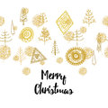 Golden Christmas seamless ornament with christmas tree and balls Royalty Free Stock Photo