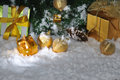Golden Christmas on snow Royalty Free Stock Image