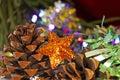 Golden christmas star ornament Royalty Free Stock Photo