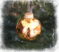 Golden Christmas tree ball framed in white Royalty Free Stock Photo