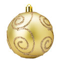 Golden Christmas tree ball isolated on the white background Royalty Free Stock Photo