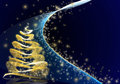 Golden christmas tree on blue starry background Royalty Free Stock Photos