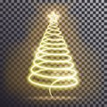 Golden Christmas tree. Light tree effect with big Yellow star and sparkle isolated on transparent b Royalty Free Stock Photo