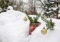 Golden christmas tree toys yew branch winter snow Stock Photos