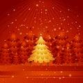 Golden christmas tree,vector  Stock Photo