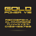 Golden chrome font and numbers eps vector edi set of editable for any background Royalty Free Stock Images