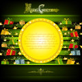 Golden circle frame on green christmas background with golden stars and presents Royalty Free Stock Photo