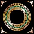 Golden circle frame with malachite at black background Stock Photos