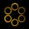 Golden circle of gears Royalty Free Stock Photo