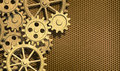 Golden clockwork gears metal background Royalty Free Stock Photo
