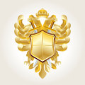 Golden coat of arms on white Stock Photography