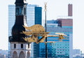 The golden cockerel weathervane on roof of building Stock Images