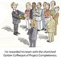 Golden coffeepot he rewarded his team with the cherished of project completeness Royalty Free Stock Photo