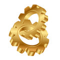 Golden cog wheels Royalty Free Stock Photography