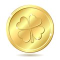 Golden coin with clover. Royalty Free Stock Photo