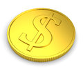 Golden coin isolated on white with dollar symbol background Royalty Free Stock Images