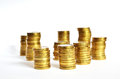 Golden coin piles Royalty Free Stock Photo