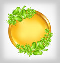 Golden coin with shamrocks. St. Patricks day symbo Royalty Free Stock Photos