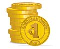 Golden coins with euro sign vector illustration of the Stock Image