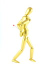 Golden colored mannequin depicting backache Stock Image