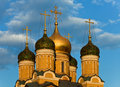 Golden and colorful Domes of Moscow. Royalty Free Stock Photo
