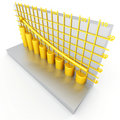 Golden columns of diagram Stock Photo