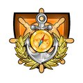 Golden compass with anchor in the center of wooden steering wheel between golden wreath in center of shield. Sport logo for any ya