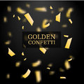 Golden Confetti. Gold glitter effect. Design element. Vector illustration  on Black Background. Royalty Free Stock Photo