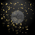 Golden Confetti. Gold glitter effect. Design element. Vector illustration  on Black Background Royalty Free Stock Photo