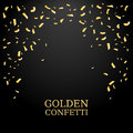 Golden Confetti. Gold glitter texture on a black background. Confetti Falling. Design element. Vector illustration Royalty Free Stock Photo