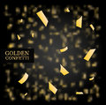 Golden Confetti. Gold glitter texture on a black background. Design element. Vector illustration Royalty Free Stock Photo