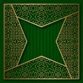 Golden cover background with traditional patterned frame in four pointed star form