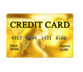 Golden credit card Royalty Free Stock Photo