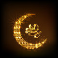 Golden crescent moon for Eid festival celebration. Royalty Free Stock Photo