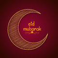 Golden crescent moon for Eid Mubarak celebration. Royalty Free Stock Photo