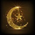 Golden crescent moon and star for Eid celebration. Royalty Free Stock Photo
