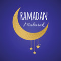 Golden crescent moon and star for Holy Month of Muslim Community, Ramadan Mubarak greeting element