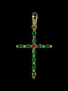 Golden cross with emeralds Royalty Free Stock Photo
