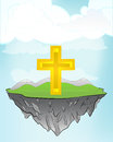 Golden cross on flying island concept in sky vector Royalty Free Stock Photo