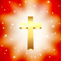 Golden cross light rays background Stock Photo