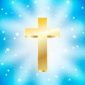 Golden cross light rays blue background Royalty Free Stock Photography