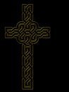 Golden cross over black celtic knot style outline traditional design gold effect simple and beautiful Royalty Free Stock Photos