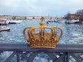 Golden crown on bridge in stockholm city sweden Royalty Free Stock Images