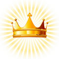 Golden crown  on glowing  background Stock Images