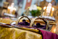 Golden crowns in orthodox wedding ceremony Stock Image