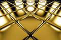 Golden cubes flooring diagonal perspective view shiny abstract industrial background Royalty Free Stock Images