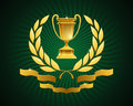 Golden cup emblem gold goblet framed with laurel wreath and decorated bottom ribbons on green striped background Stock Images