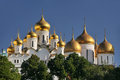Golden Cupolas of Moscow Kremlin - Domes of Russian Orthodox Chu Royalty Free Stock Photo